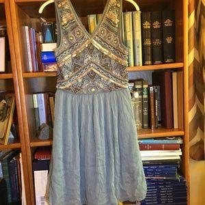 Modcloth Mint Embellished Bodice Gauzy Dress UK10